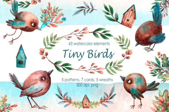 Tiny Birds - Watercolor Clip Art Set Graphic Illustrations By mashamashastu