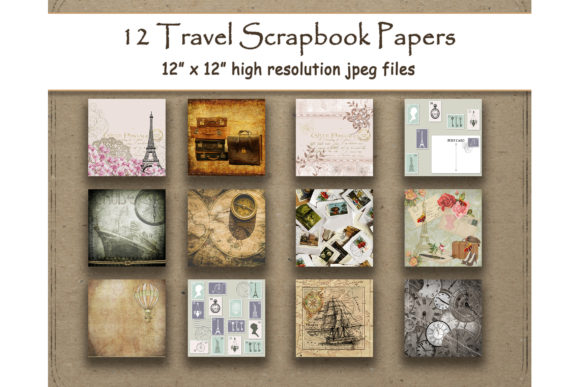 Download Free Travel Digital Paper Scrapbook Vintage Graphic By for Cricut Explore, Silhouette and other cutting machines.