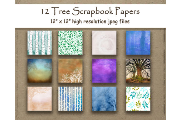 Download Free Tree Digital Paper Scrapbook Pattern Graphic By for Cricut Explore, Silhouette and other cutting machines.