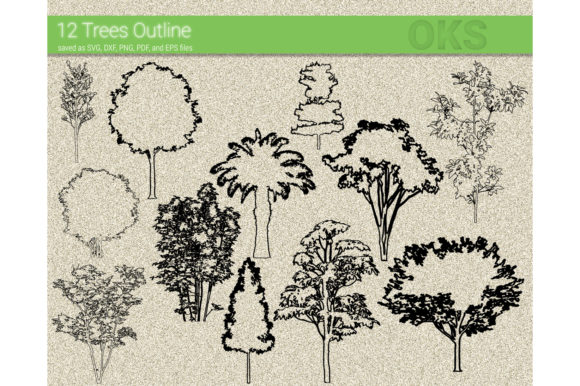 Print on Demand: Trees Outline Svg Vector Graphic Crafts By CrafterOks