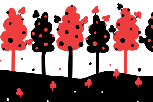 Print on Demand: Trees and Stars - Seamless Border Dots Graphic Patterns By Milaski