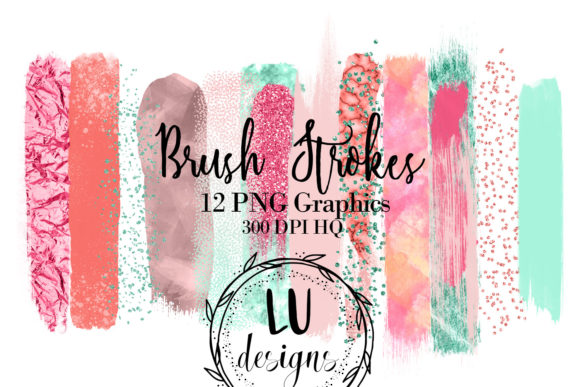 Tropical Brush Strokes Paint Glitter Graphic Objects By Lu Designs