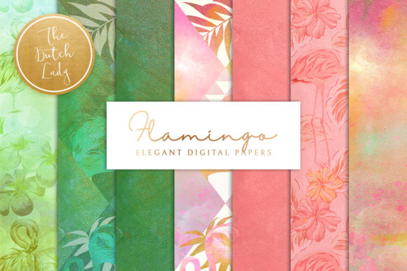 Print on Demand: Tropical Flamingo Scrapbook Papers Graphic Patterns By daphnepopuliers