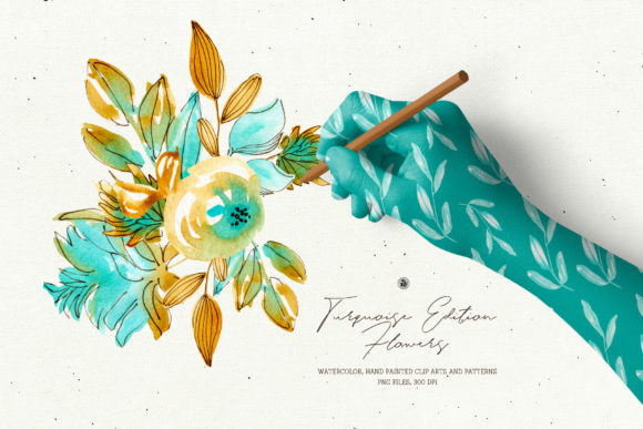 Turquoise Edition Watercolor Flowers Graphic Illustrations By webvilla