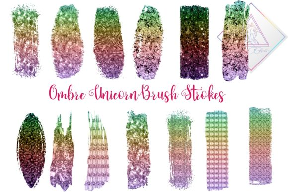 Print on Demand: Unicorn Brush Strokes Clipart Graphic Illustrations By fantasycliparts
