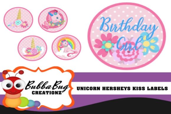 Unicorn Hershey Kiss or Hug Labels Graphic Crafts By BUBBABUG
