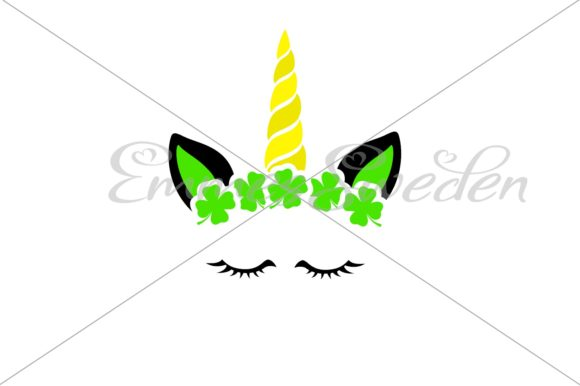 Print on Demand: Unicorn Face. Lucky Clover. St Patricks Graphic Illustrations By EmmesSweden