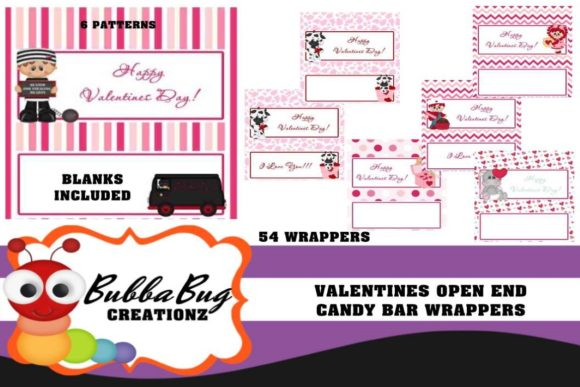 Valentines Candy Bar Wrappers Graphic Crafts By BUBBABUG