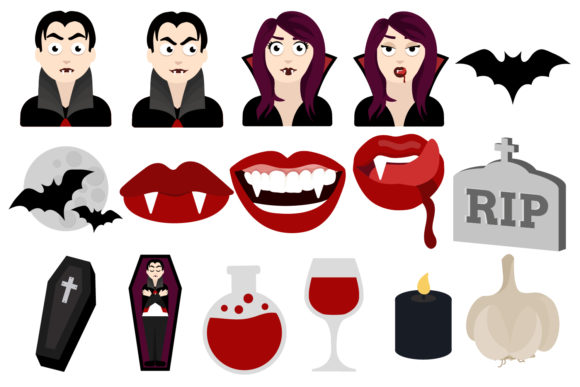 Print on Demand: Vampire Clipart Graphic Illustrations By Mine Eyes Design - Image 2