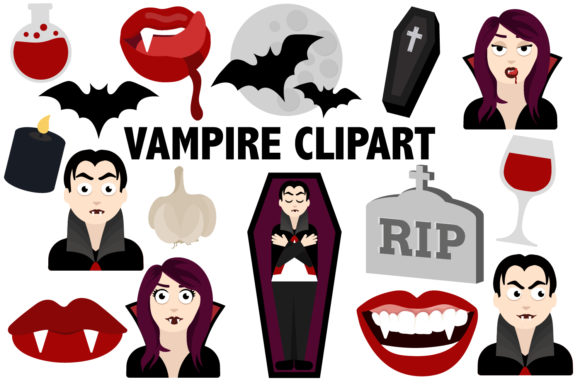 Print on Demand: Vampire Clipart Graphic Illustrations By Mine Eyes Design - Image 1