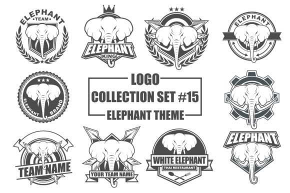 Print on Demand: Vector Logo Bundle with Elephant Theme Grafik Logos von azkaryzki