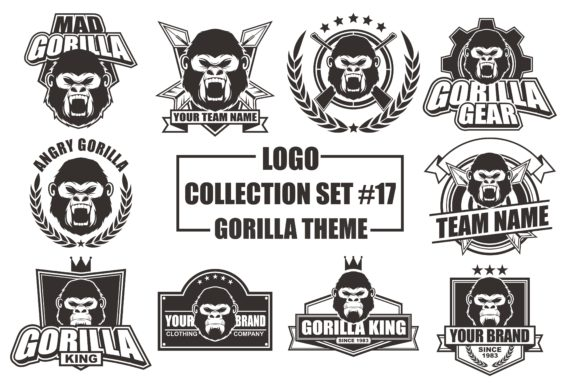 Print on Demand: Vector Logo Bundle with Gorilla Theme Grafik Logos von azkaryzki