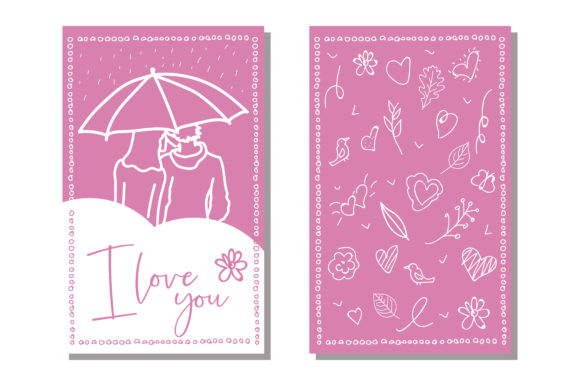 Print on Demand: Vector Love Cards Template. Graphic Print Templates By woplolqow