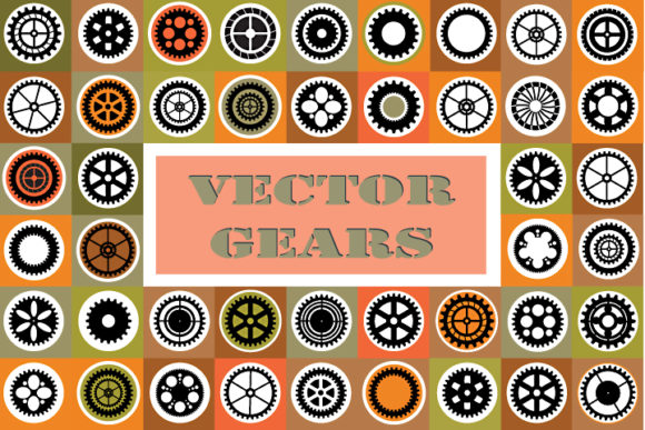 Print on Demand: Vector Gears Set Graphic Icons By AlexZel
