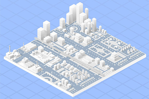 Print on Demand: Vector Isometric Center City Graphic Illustrations By AlexZel