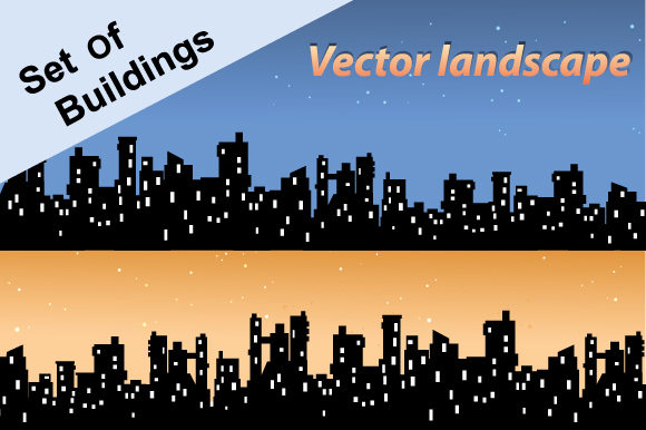 Download Free Vector Landscape City Graphic By Alexzel Creative Fabrica for Cricut Explore, Silhouette and other cutting machines.