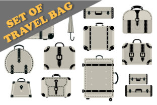 Print on Demand: Vector Travel Bags Graphic Illustrations By AlexZel