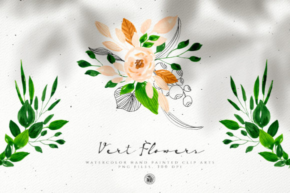 Vert Watercolor Flowers Graphic Illustrations By webvilla
