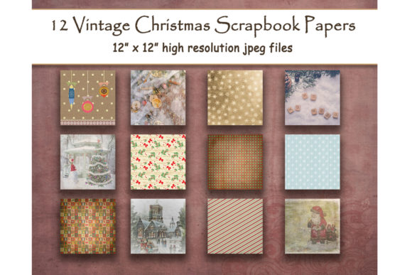 Download Free Vintage Christmas Rustic Scrapbook Paper Graphic By for Cricut Explore, Silhouette and other cutting machines.