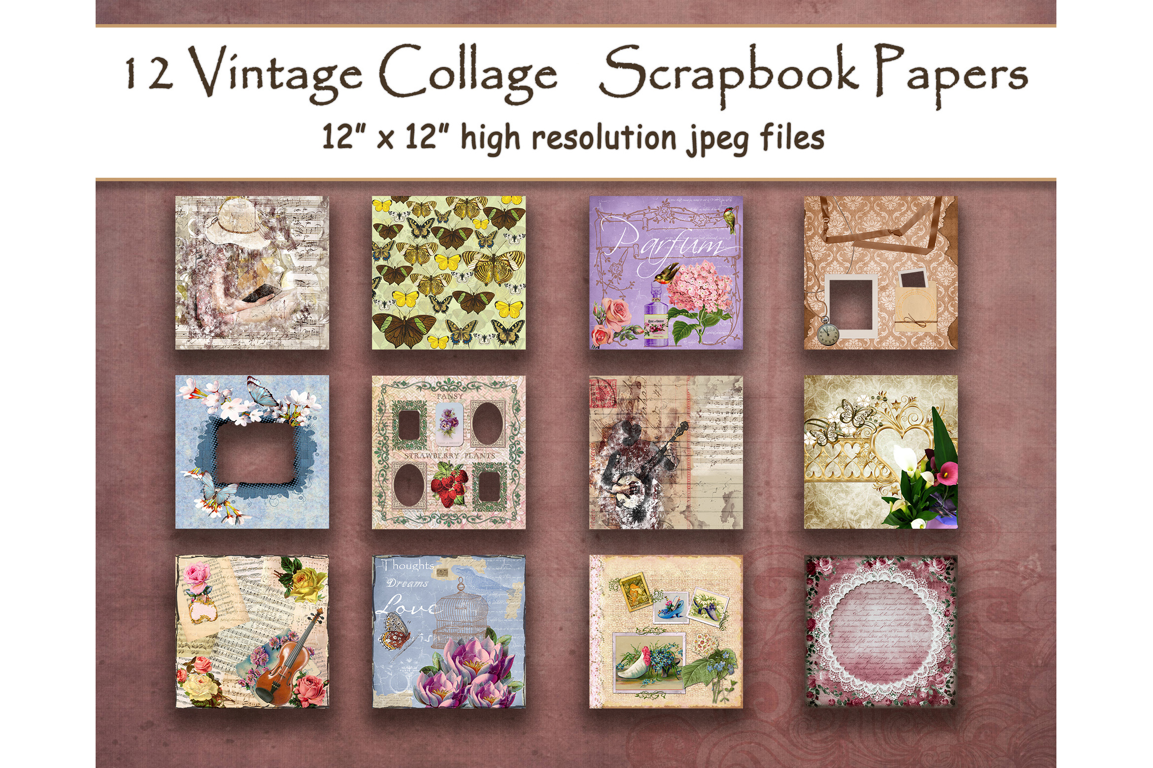 Download Free Vintage Collage Digital Paper Layout Graphic By for Cricut Explore, Silhouette and other cutting machines.