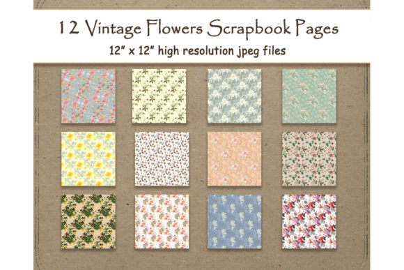 Print on Demand: Vintage Flowers Digital Paper 12 Graphic Backgrounds By DigitalPrintableMe