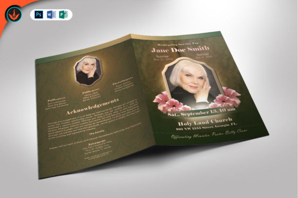 Vintage Green Funeral Program Template Graphic By Seraphimchris