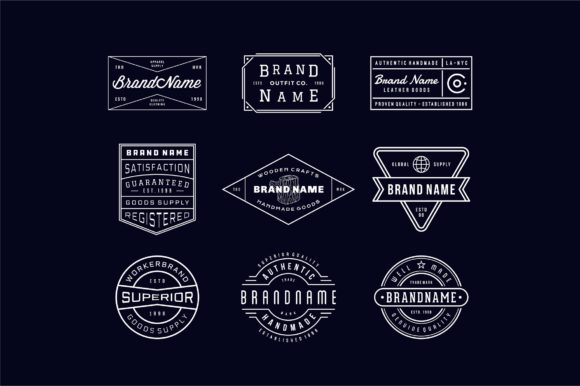 Vintage Logo, Insignia & Badge Set