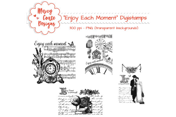 Download Free Vintage Romance Digital Stamps Graphic By Marcycoatedesigns for Cricut Explore, Silhouette and other cutting machines.