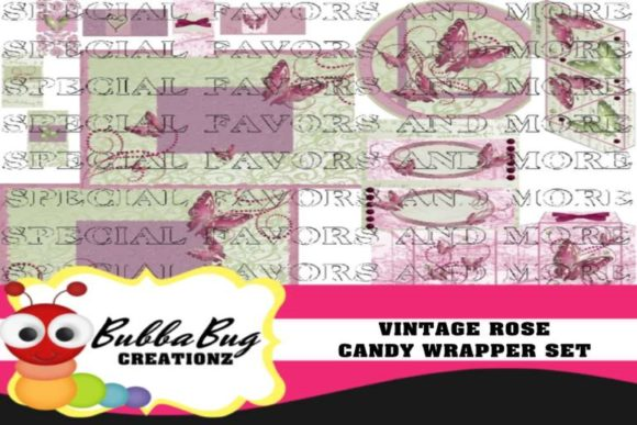 Vintage Rose Candy Wrapper Set Graphic Crafts By BUBBABUG