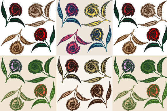Vintage Sketched Art of Rose Flower Graphic Backgrounds By asgiaiko