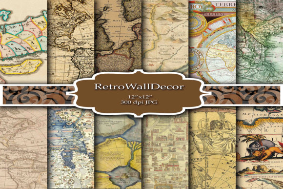 Print on Demand: Vintage Maps Digital Paper Graphic Backgrounds By retrowalldecor