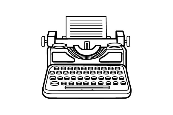 Download Free Vintage Typewriter Clipart Images In Line Drawings Svg Cut File for Cricut Explore, Silhouette and other cutting machines.