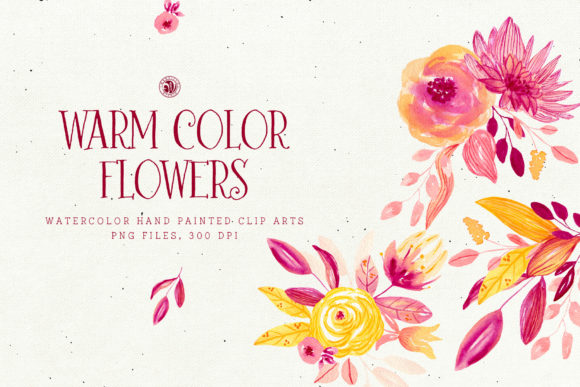 Warm Color Flowers Graphic Illustrations By webvilla