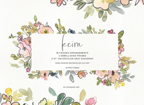 Watercolor Blush and Lemon Colors Floral Graphic Illustrations By Patishop Art