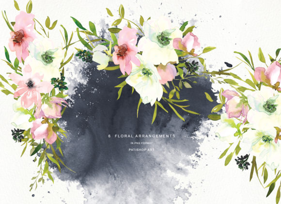 Watercolor Blush and White Florals Graphic Illustrations By Patishop Art