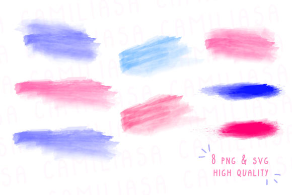 Print on Demand: Watercolor Bundle Brush Stroke Set Graphic Icons By Inkclouddesign - Image 2