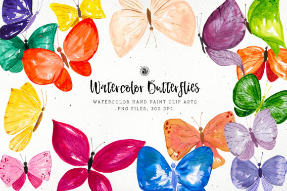 Watercolor Butterflies Graphic Objects By webvilla