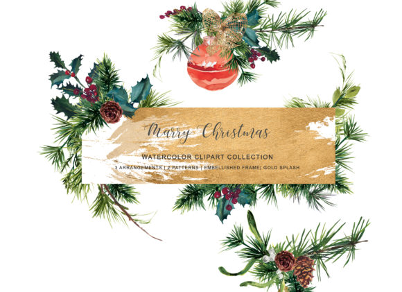 Watercolor Christmas Clipart Graphic Illustrations By Patishop Art