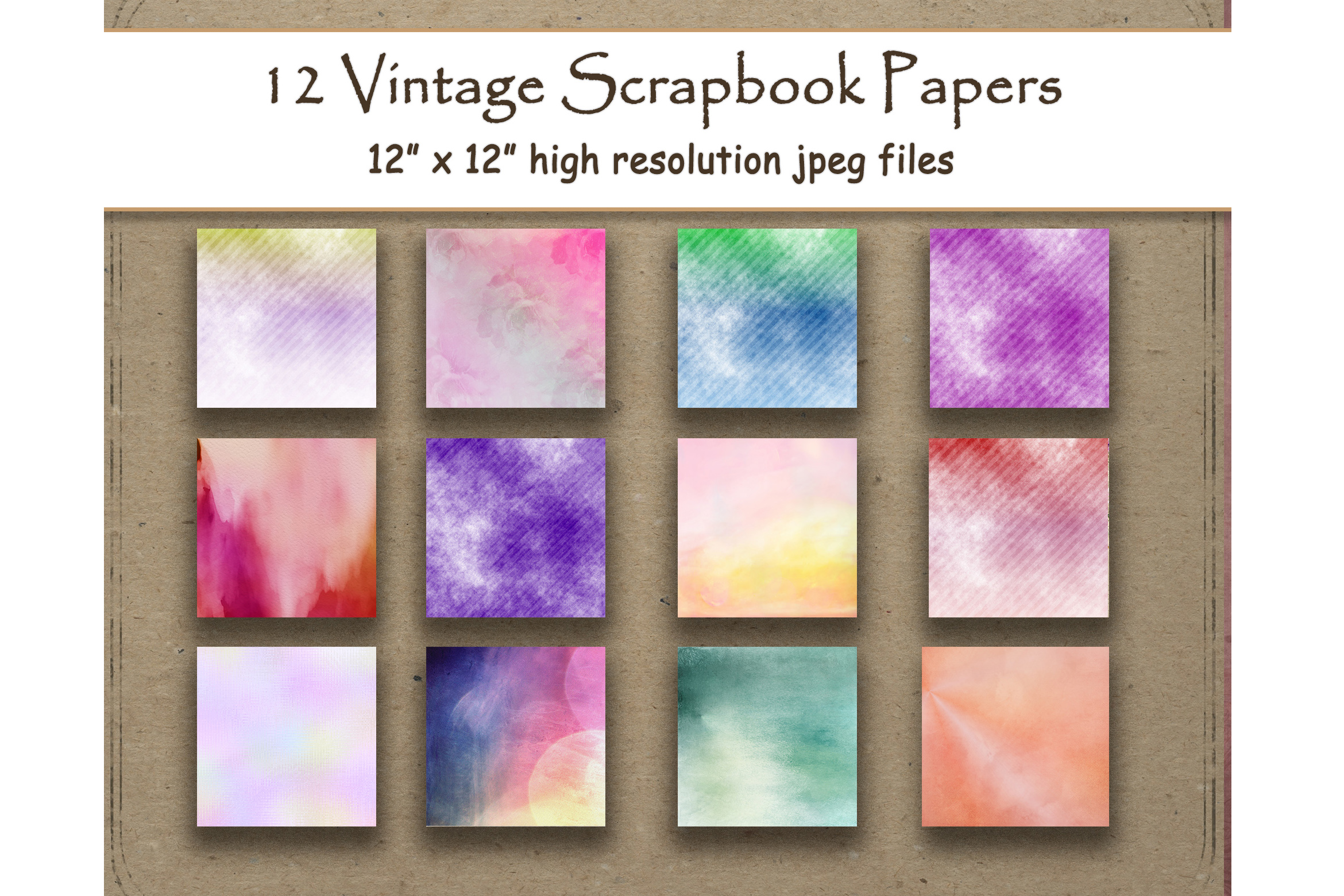 Download Free Watercolor Digital Paper Colorful Pack Graphic By SVG Cut Files