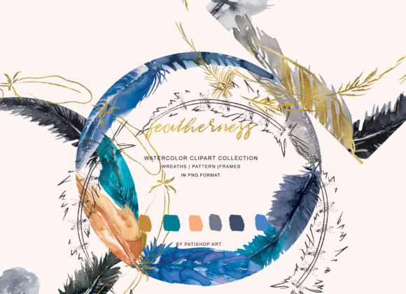 Watercolor Feather Wreaths & Frames Graphic Illustrations By Patishop Art