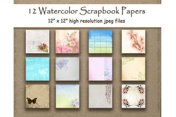 Watercolor Flower Scrapbook Paper Pack Graphic Backgrounds By DigitalPrintableMe