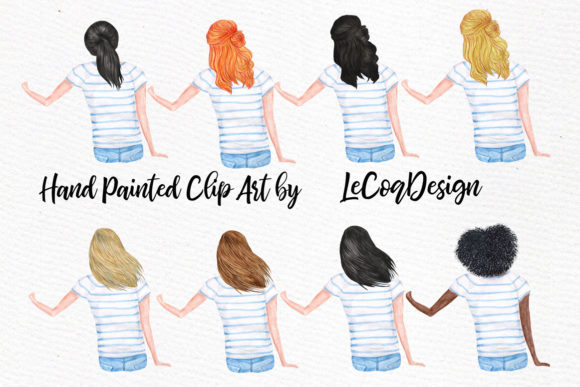 Watercolor Girls with Dogs Clipart Graphic Illustrations By LeCoqDesign - Image 3