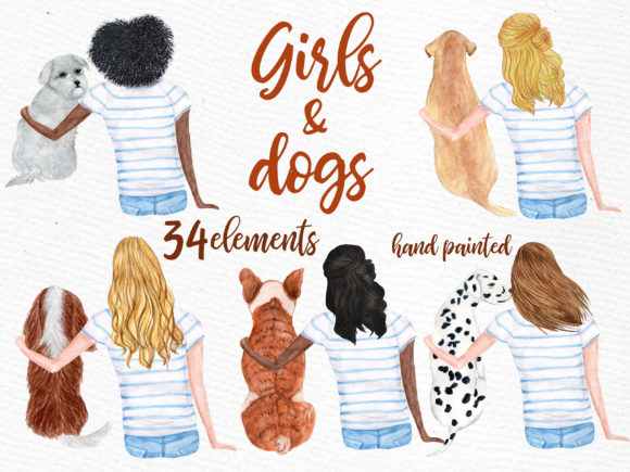 Watercolor Girls with Dogs Clipart Graphic Illustrations By LeCoqDesign - Image 6
