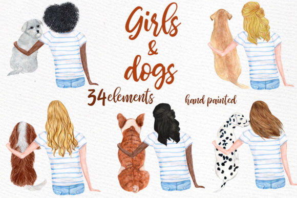 Watercolor Girls with Dogs Clipart Graphic Illustrations By LeCoqDesign