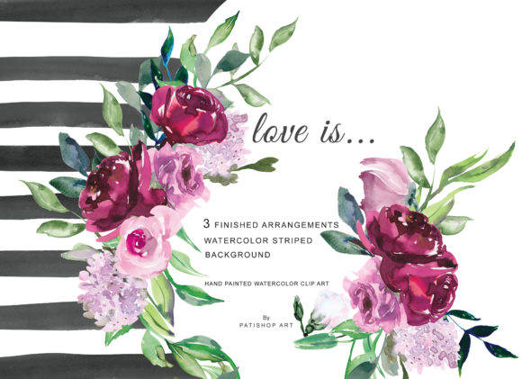 Watercolor Marsala & Pink Flowers Clipar Graphic Illustrations By Patishop Art