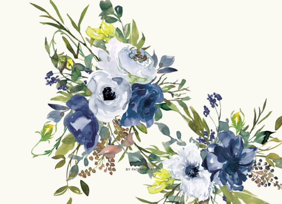 Watercolor Navy White and Yellow Floral Graphic Illustrations By Patishop Art