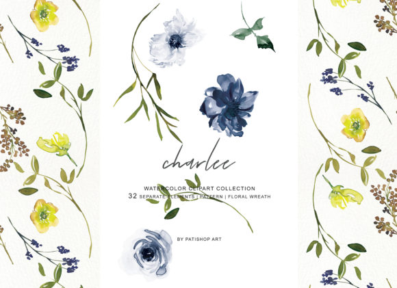 Watercolor Navy White and Yellow Flowers Graphic Illustrations By Patishop Art