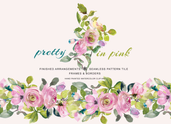 Download Free Watercolor Pastel Pink Sage Flowers Clip Graphic By Patishop Art for Cricut Explore, Silhouette and other cutting machines.