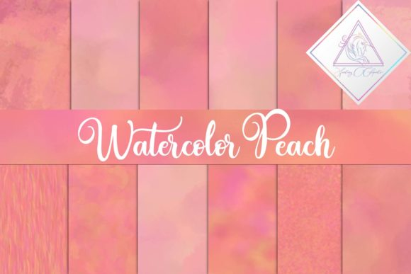 Print on Demand: Watercolor Peach Digital Paper Graphic Illustrations By fantasycliparts