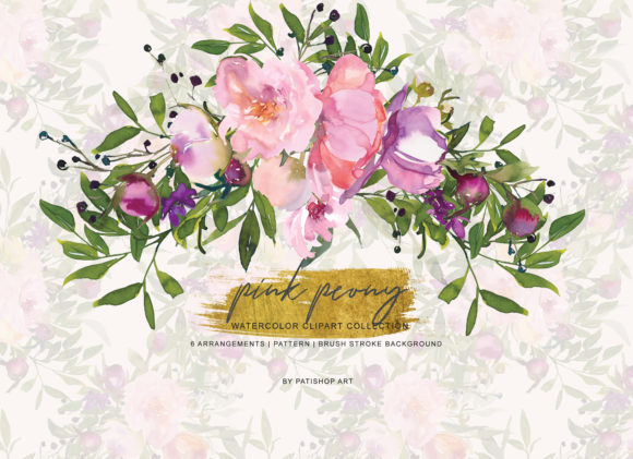 Watercolor Pink Peony Clipart Graphic Illustrations By Patishop Art